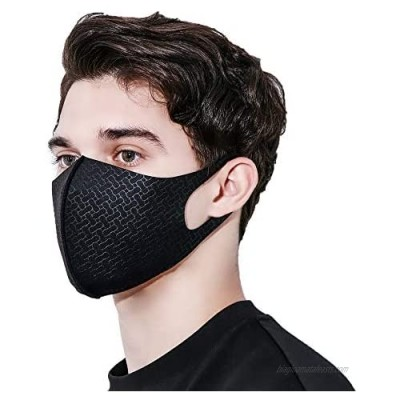 Black Face Mask UPF 50  UV Sunblock Protective  Unisex  Washable  Reusable  Breathable for Running (Cell)
