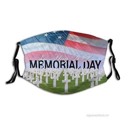 Memorial Day Lest We Forget Azalea Washable & Adjustable Fashion Unisex Face Mask Outdoor Bandana With 2 Pcs Filters