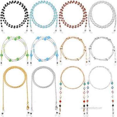 12 Pieces Eyeglass Chain Beaded Sunglasses Strap Holder Eyeglass Necklace Chain Eyewear Retainer Lanyard Cord for Women Sunglasses and Reading Glasses