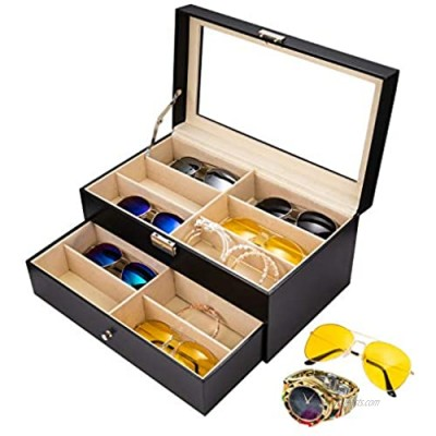APL Display Sunglasses Organizer for Women Men  12 Slot Sunglasses Case Organizer  Multi Glasses Case Display Eyeglasses Storage Box  Sunglasses Storage Jewelry Watch Collection Case