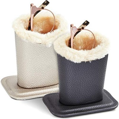 Faux Leather Eyeglass Holder Stand with Plush Lining (Grey and Champagne  2-Pk)