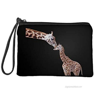 Coloranimal Travel Small Zip Coin Purse & Pouch with ID Card Holder Organizer Clutch Change Canvas Wallet (Kiss Giraffe Print)