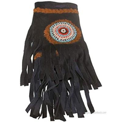 Fair Trade Replica Native American Medicine Drawstring Beaded Bag Pouch (Blue)