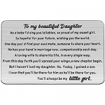 PENQI Daughter Wedding Day Gift To My Daughter Wedding Wallet Card Daughter Wedding Gift From Mom Dad Bride Jewelry (Wallet Card-Daughter Wedding)