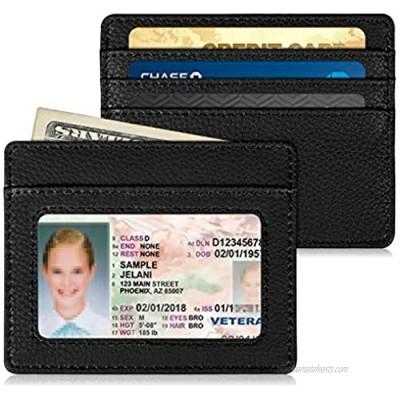 Slim Minimalist Front Pocket Wallet  Fintie RFID Blocking Credit Card Holder Card Cases with ID Window for Men Women (Black)