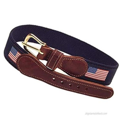 Preston Leather American Flag Belt Blue