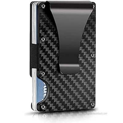 Carbon Fiber Wallet for Men or Women  RFID Blocking Minimalist Credit Card Holder - Gift for Husband Dad Wife Slim Money Clip Ridge Wallet for Fathers day or Mothers day (Black)