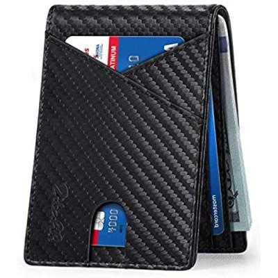 Zitahli Mens Slim Wallet with Bill Pockets RFID-blocking Leather Bifold Wallets