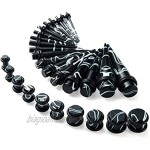 JDXN Acrylic Ear Stretching Kit Tapers Plugs Silicone Tunnels Gauges Expander 14G-00G Jewelry 50 Pieces Set