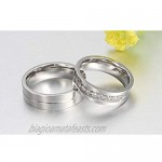 MoAndy Couple Rings Stainless Steel White Cubic Zirconia Matching Wedding Bands Ring for Him/Her