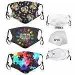 3pcs Face Mask With 6 Filters Filters Bandanas Balaclava Print Reusable Fabric Washable Face Mask For Men&Women