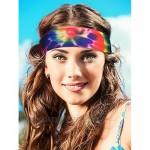 9 Pieces Headband Balaclava Tie-dye Headband Hippie Neck Gaiter Bandana Sun Protection Face Mask for Women and Men
