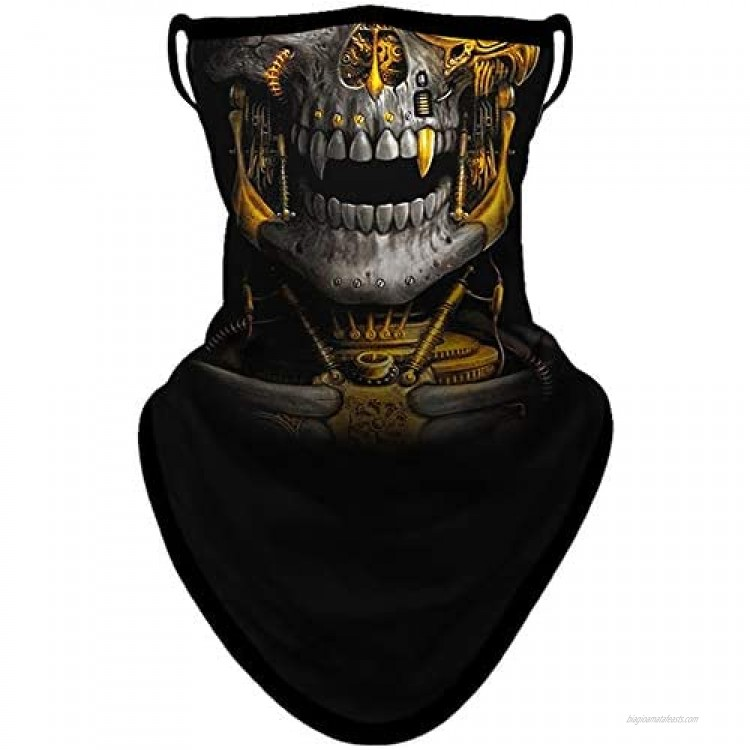 BNKIBN Gaiter Face Mask with Ear Loops Bandana Mask Neck Gaiter Face Scarf Cover Men Women for Sun Dust Wind