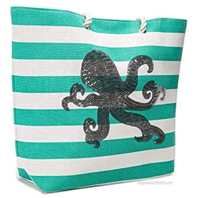 """21.6"""" Large Tote Bag Heavy Duty Beach Bag Handbag with Strong Rope Handles and Sequin Octopus"""