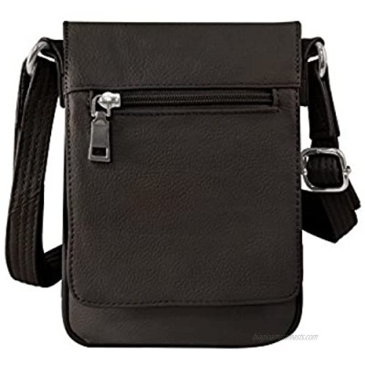 Roma Leathers Compact Concealment Crossbody Bag Wire reinforcement strap & Lockable YKK zippers