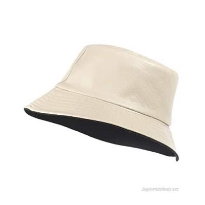 LUCMENTA Women PU Leather Bucket Hat Girls Matte Black Color Fisherman Hat