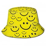 Smiley-Face Adult Unisex Sun Hat Fisherman Bucket Hat Uv Protection Fishing Cap for Outdoor Sports Black