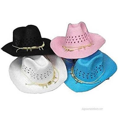 12 PIECES wholesale BULK LOT ASSORTTED COLOR Cowboy/Cowgirl Woven Straw Hat with Imatation Bear Claw and Beads Headband