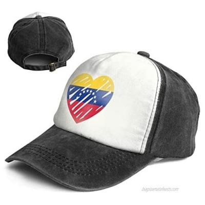 Love Flag of Venezuela Trend Printing Cowboy Hat Fashion Baseball Cap for Men and Women Black and White
