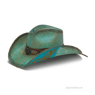 Stampede Hats Women's Whistler Turquoise Western Hat with Flower Trim