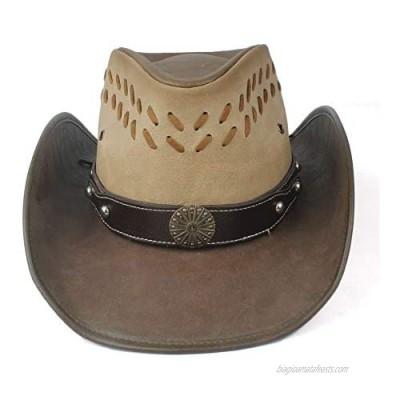 YXhats Fashion Unisex Western Leather Outback Cowboy Hat Punk Band Dress up Caps