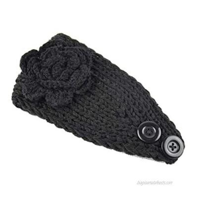 LeJulyeekay Women's Crochet Headband Hair Bands Headwrap with Flower Ear Warmers