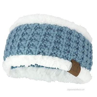 Trendy Apparel Shop Sherpa Fleece Lined Stretchy Chunky Knit Ear Warmer Headband