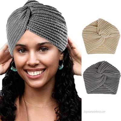 Woeoe Warm Winter Head Wraps Grey Fuzzy Knitted Headwear Cable Crochet Soft Stretchy Ear Warmer Turban Headbands for Women and Girls