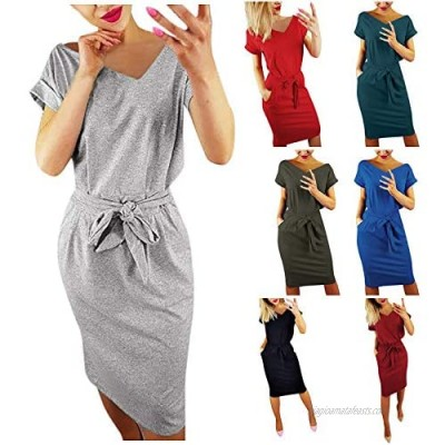 Women's Sexy Basic Crewneck Belted Office Dress with Pockets Solid Color Short Sleeve Party Slim Mini Dress
