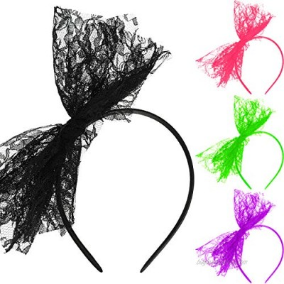 80's Lace Headband Costume Accessories for 80s Theme Party  No Headache Neon Lace Bow Headband  Set of 4 (4 Colors B  Style B)
