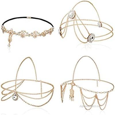 Jstyle 4Pcs Head Chain Jewelry for Women Rhinestones Crysatal Drop Pendant Headpiece Bridal Bohemian Halloween Hair Accessories