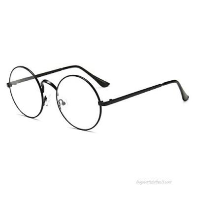 Retro Round Glasses Clear Lens Non-Prescription for Men Women Metal Frame