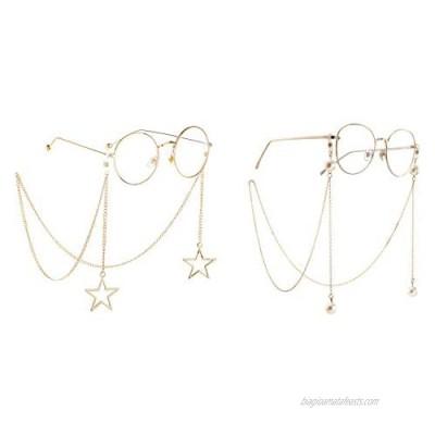 Naimo 2PCS Pearl Star Pendant Eyeglass Chains Eyewear Strap Holder Reading Glasses Retainer