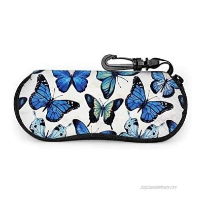 Butterfly Soft Sunglasses Case With Carabiner butterfly Keychain Ultra Light Portable Neoprene Zipper Eyeglass Bag