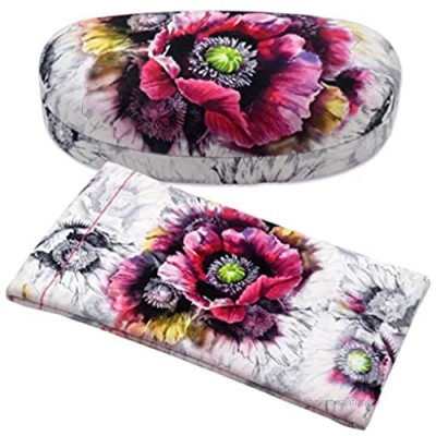 Hard Sunglasses Case with Soft Eyeglass Pouch  A Floral Glasses case Hard Shell w/Soft Eye Glass Carry case by Rachel Rowberry (AS113 + CT2 Poppy)