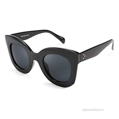 FEISEDY Retro Oversized Square Horn Sunglasses Semi Cat Eye Butterfly Glass Big Thick Bold Frame B2572
