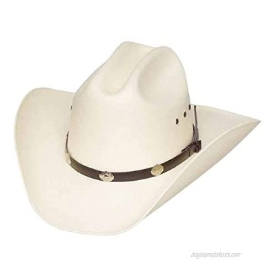 Authentic Classic Cattleman Straw Cowboy Hat with Silver Conchos Child One Size Fits All Kidz -Elastic Band (White)