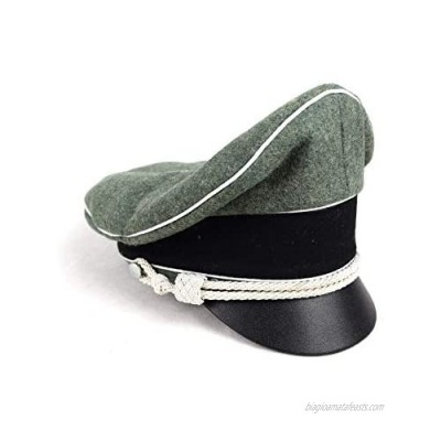 Replica WW2 German Army Field Marshals Generals Officers Crusher Field Visor Hat Cap W White Pipe Silver Chin Cord