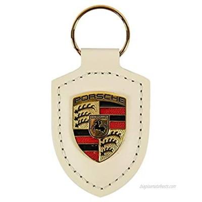 Porsche Genuine Blue Crest Leather Key Chain