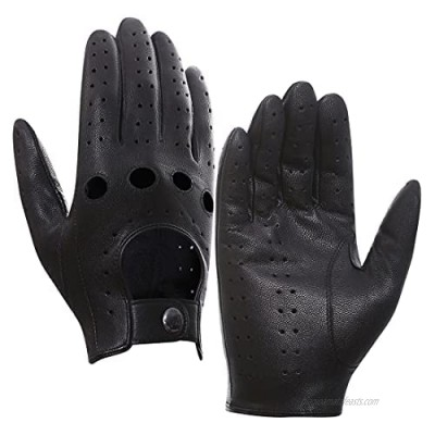 Harssidanzar Mens Leather Driving Gloves Unlined