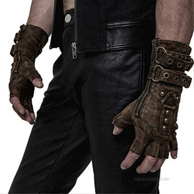 Punk Rave Steampunk Fingerless Gloves for Men Motorcycle Cotton Gloves Grey Coffee Driving Gloves