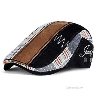 PORSYOND Men Flat Cap Newsboy Hat Beret Cabbie Ivy Cap Patchwork Adjustable Gatsby Newsboy Hat