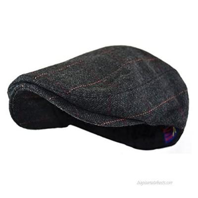 Wonderful Fashion Men's Classic Herringbone Tweed Wool Blend Newsboy Ivy Hat (Large/X-Large  Charcoal)